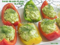» Barcute din ardei cu salata de avocadoCulorile din Farfurie Avocado Toast, Guacamole, Appetizers, Stuffed Peppers, Vegetables, Breakfast, Food, Book Qoutes, Salads