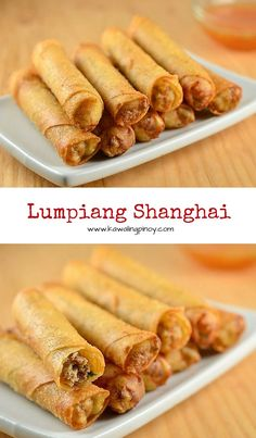 Lumpiang+shanghai+are+Filipino-style+springrolls+filled+with+ground+meat,+carrots,+green+onions,+water+chestnuts+and+garlic.+Golden+and+crisp,+these+are+seriously+addicting!+via+@lalainespins