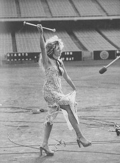 Stevie baton twirling for the Tusk video, 1979.