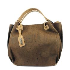 Handbag in a lightweight chocolate brown cork fabric from Portugal.