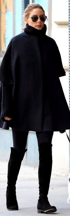 Olivia Palermo's sunglasses and black suede boots all black style id