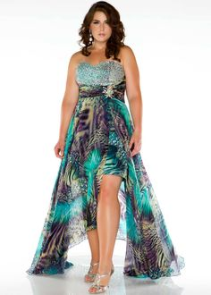 Find Fabulouss by Mac Duggal 64487F multi print high low plus size prom dresses available now with RissyRoos.com.