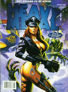 Alex Horley, Heavy Metal Contains Wet Dreams The Fortress by Azpiri and Fistful of Blood by Eastman & Bisley, Part 11 (final installment). Fille Heavy Metal, Chica Heavy Metal, Heavy Metal Comic, Heavy Metal Girl, Pulp Fiction Art, Science Fiction Art, Fantasy Art Women, Fantasy Girl, Bd Art