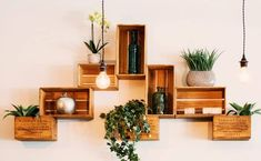Trendy Home Decored Rustic Ideas Interior Design Nature Green, Creative Walls, Wall Shelves, Wooden Shelves, Box Shelves, Rustic Shelves, Wooden Cabinets, Floating Shelves, Trendy Home