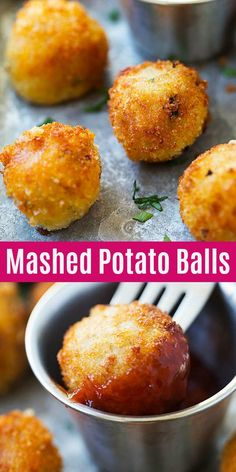 Mashed Potato Balls - crispy fried mashed potato balls loaded with bacon and cheddar cheese. The best recipe to use up leftover mashed potatoes | rasamalaysia.com