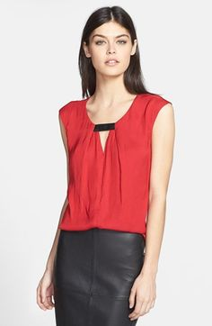 Trouvé Front Keyhole Woven Top | Nordstrom (As seen on Emily in Revenge)