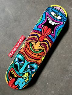 Featured Deck of the Day: Tiki by Lou SimeoneYou can find Skateboard art and more on our website.Featured Deck of the Day: Tiki by Lou Simeone Painted Skateboard, Skateboard Deck Art, Skateboard Design, Skateboard Girl, Custom Skateboard Decks, Custom Skateboards, Cool Skateboards, Skate Shape, Surfboard Painting