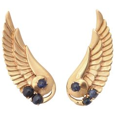 Retro Sapphire Gold Angel Wing Earrings. 14k Chased gold 16.5 gram wings applied with 6 cabochon sapphires 1.50 carats
