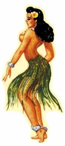 Pin-up style hula girl. I like this picture.