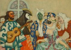 Charles Constantine Hoffbauer (American 1875-1957) The Masquerade: A Pair of Works