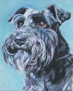 Schnauzer art print canvas print of LA Shepard painting 8x10 dog art. $19.99, via Etsy.