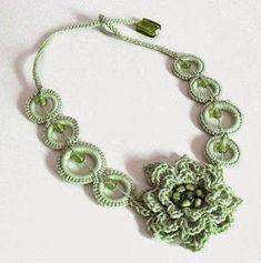 New Ideas For Diy Jewelry Necklace Easy Inspiration Crochet Bracelet, Crochet Earrings, Crochet Jewellery, Bijoux Shabby Chic, Jewelry Crafts, Handmade Jewelry, Crochet Collar, Textile Jewelry, Irish Crochet