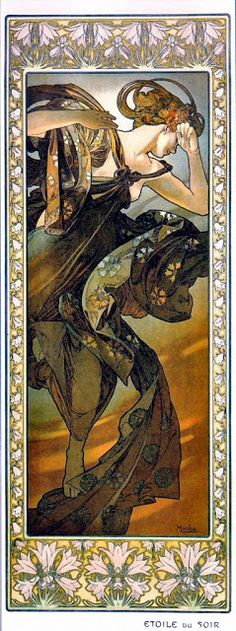 Alphonse Mucha and all of his glorious art nouveau pieces. Art Nouveau, I think is perfect for depicting graceful beautiful fairytale men an women.