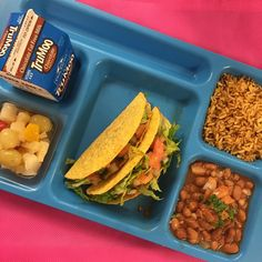 crispy tacos are a school lunch favorite at HCISD! We serve chicken taco meat in crunchy shells with brown Spanish rice, charro beans, and fresh fruit! #schoollunch #realschoolfood #harlingen #HCISD