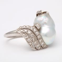 Baroque pearl rings | Large South Sea Baroque Pearl And Diamond Ring at 1stdibs