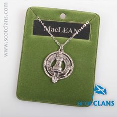 MacLean Clan Crest Pendant. Free worldwide shipping available.