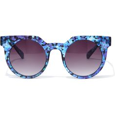 Forever 21 Abstract Crackle Flat-Browline Sunglasses ($7.90) ❤ liked on Polyvore featuring accessories, eyewear, sunglasses, rounded sunglasses, round sunglasses, retro style sunglasses, round lens sunglasses and round lens glasses