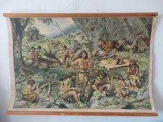 1950 Zdenek Burian Vintage school chart poster Older Stone Age 99 x 69 cm Vintage School, Stone Age, Vintage World Maps, Poster, Painting, Ebay, Art, Art Background, Painting Art