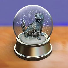 model: A 3D snow globe with a Chinese dragon inside