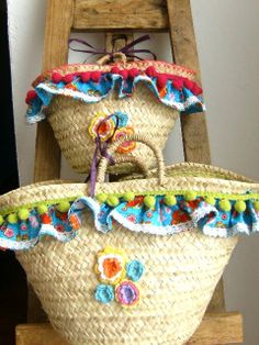 Mother and daughter portuguese handmade straw bags by APegaRabuda, €55.00