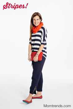 Stripes for Spring - neutrals with colorful accessories (scarf, shoes, bag)