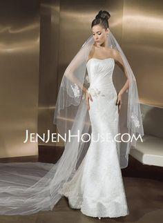 Wedding Dresses - $260.99 - Mermaid Sweetheart Chapel Train Satin  Lace Wedding Dresses With Ruffle  Lace  Beadwork (002000197) http://jenjenhouse.com/Mermaid-Sweetheart-Chapel-Train-Satin--Lace-Wedding-Dresses-With-Ruffle--Lace--Beadwork-002000197-g197
