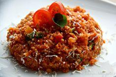 Kuskus s červenou čočkou a rajčaty (od 1 roku) Polenta, Fried Rice, Quinoa, Risotto, Ale, Food And Drink, Cooking Recipes, Vegan, Healthy