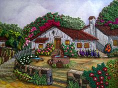 By Celina Gres. Via Inspirations Magazine. Silk Ribbon Embroidery, Crewel Embroidery, Cross Stitch Embroidery, Embroidery Patterns, Dora, Cross Stitch Landscape, Cottage Art, Bargello, Mural Art