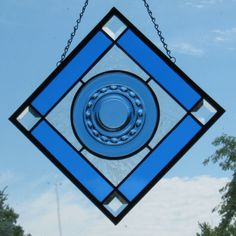 """Blue"" Vintage Glass Plate Suncatcher - (14"" X 14"")"
