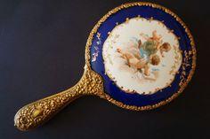 Antike Vintage viktorianische Jugendstil Portrait Cherub Engel Porzellan Sevres Stil vergoldet Handspiegel
