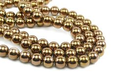 "16"" 4mm rose Gold plated Hematite round Beads gemstone - non magnetic, $5.50"