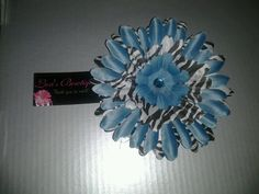 3in Black,blue & White Zebra Print Gerber Daisy Head Band - You choose Size and band. $7.00, via Etsy.