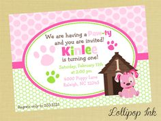 Pink Puppy Printable Invitation, Puppy Dog Personalized Birthday Invite, Pink and Green Puppy Party