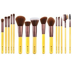 amoore Makeup Brushes Makeup Brush set Makeup Brush Foundation Brush Powder Brush 15 Pcs Yellow -- See this great product. (This is an affiliate link)