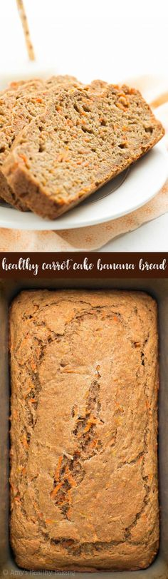 Healthy Carrot Cake Banana Bread -- only 107 calories & SO easy to make! It really does taste like you're eating carrot cake for breakfast! Banana Recipes Easy Healthy, Healthy Carrot Cakes, Healthy Banana Bread, Carrot Recipes, Banana Bread Recipes, Healthy Baking, Healthy Desserts, Healthy Breakfasts, Potato Recipes