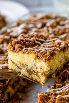 Sour Cream Coffee Cake, with a Ridiculous Amount of Streusel from The Food Charlatan. This is my FAVORITE recipe for Sour Cream Coffee Cake! My main complaint with Coffee Cake is that there is usually too much cake, not enough streusel. This recipe gives you the max amount of streusel without ruining the light fluffiness of the cake! A vanilla drizzle finishes it off! #coffeecake #sourcream #icing #frosting #drizzle #easy #recipes #cinnamon #streusel #sourcream #crumb #crumble #moist #breakfast Coffee Cake Recipe No Sour Cream, Banana Sour Cream Cake, Banana Bread, Cake Mix Recipes, Easy Recipes, Bread Recipes, Cinnamon Streusel Coffee Cake, Banana Coffee Cakes, Mocha Recipe