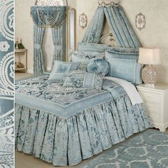 Regency Bedding has an elegant design fit for monarchial tastes. Grande Bedspread features ivory woven jacquard scrollwork on a Parisian blue poly satin ground framed by a 6 band of ivory scroll embroidery on Parisian blue with twist cording accents. Blue Bedroom, Trendy Bedroom, Bedroom Colors, Dream Bedroom, Bedroom Decor, Bedroom Ideas, Blue Bedspread, Purple Bedding, Girl Bedding