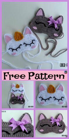 Crochet Cat & Unicorn Sleep Mask – Free Pattern #freecrochetpattern #unicorn #cat #maske