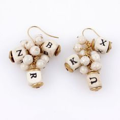 Alphabet Cluster Earrings, $28, now featured on Fab.