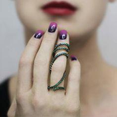"""Sidney Chung """"Vine"""" Emerald Full Finger Ring"""