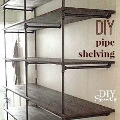 pipe shelving how to - I could get behind this idea. Not sure where... girl-cave? Living room? BR?