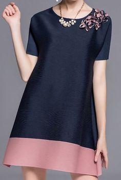 Shop Tunics - Dark Blue A-line Casual Polyester Crew Neck Tunic online. Simple Dresses, Cute Dresses, Beautiful Dresses, Casual Dresses, Fashion Dresses, Short Sleeve Dresses, Colorblock Dress, Embroidery Dress, Applique Dress