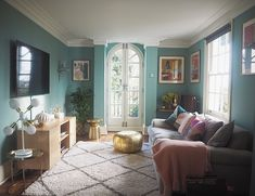 I painted my living room / tv snug in Dix Blue by Farrow & Ball, and used gold and blush pink decorative home accessorie Farrow Ball, Dix Blue Farrow And Ball, Living Room Tv, Living Room Furniture, Living Spaces, Pink Living Room Paint, Jonathan Adler, West Elm, Shop Interiors
