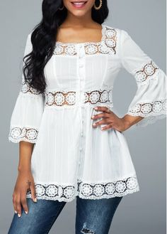 Stylish Tops For Girls, Trendy Tops, Trendy Fashion Tops, Trendy Tops For Women Girls Fashion Clothes, Winter Fashion Outfits, Sewing Blouses, Midi Skirt Outfit, Cute Girl Dresses, Pakistani Dress Design, Clothing Hacks, Collar Blouse, African Fashion Dresses