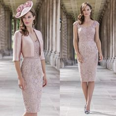 Fashion Pink Knee Length Full Lace Mother's Dresses V Neck Half Sleeve Plus Size Mother of the Bride Dresses with Jacket Mother Of The Bride Fashion, Mother Of The Bride Suits, Mother Of Bride Outfits, Mother Of Groom Dresses, Mothers Dresses, Mother Bride, Cheap Evening Dresses, Evening Gowns, Prom Dresses