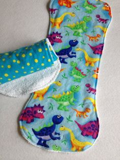 Great grandma gift for newborn baby boy:  Burp Cloths for baby  Set of 2 dinosaurs and dots by TeddyBoyStyle