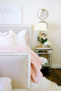 white and pink master bedroom Glam Blush Gold Spring Bedroom - Randi Garrett Design