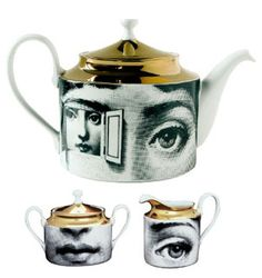 Get ready, this Fornasetti tea set will be on my wedding registry. Chocolate Pots, Chocolate Coffee, Teapots Unique, Piero Fornasetti, Teapots And Cups, My Cup Of Tea, Tea Time, Tea Party, Tea Cups