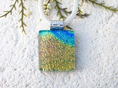 Petite Handmade Rainbow Necklace, OOAK Dichroic Necklace, Fused Glass Jewelry, Dichroic Jewelry, Contemporary Jewelry, ccvalenzo, 031220p103