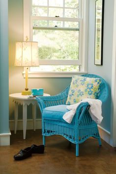 Stunning Home Interior Design And Decoration Inspired By Maine Cottage: Delectable Maine Cottage Living Room Decoration Using Upholstered Light Blue Wicker Armchair Including Light Blue Pastel Interior Wall Paint And Light Blue Yellow Flower Chair Cushions ~ caribmehome.com Interior Inspiration